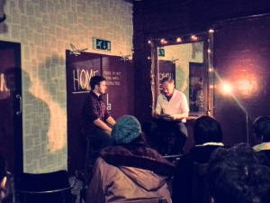 In the Beginning performed by Rhydian Jones and Mark Lawson. Theatre Uncut